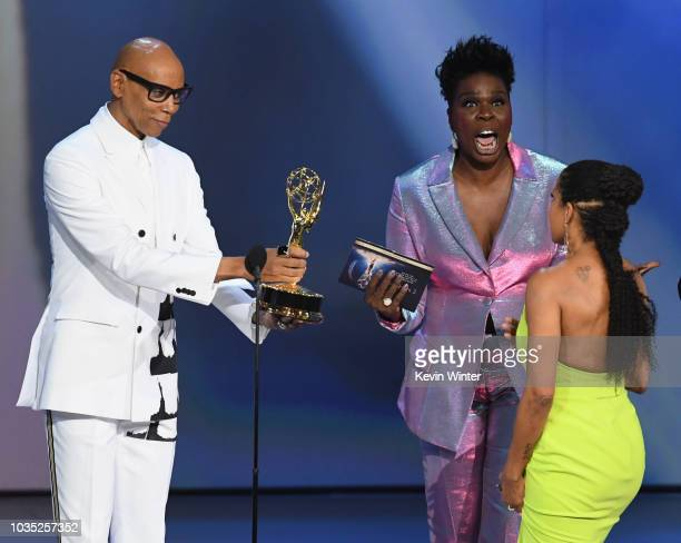 RuPaul and Leslie Jones present award for Lead Actress in a Limited Series to Regina King onstage during the 70th Emmy Awards at Microsoft Theater on...