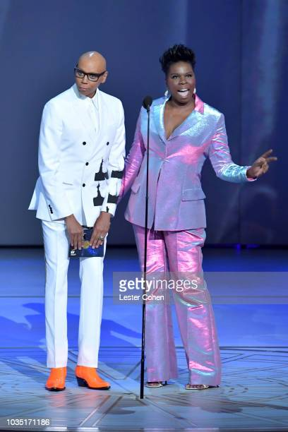 RuPaul and Leslie Jones present onstage during the 70th Emmy Awards at Microsoft Theater on September 17, 2018 in Los Angeles, California.