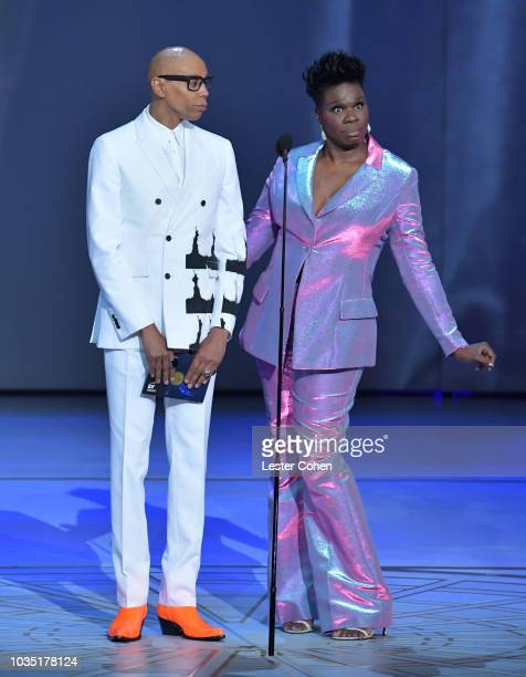 RuPaul and Leslie Jones present onstage during the 70th Emmy Awards at Microsoft Theater on September 17 2018 in Los Angeles California