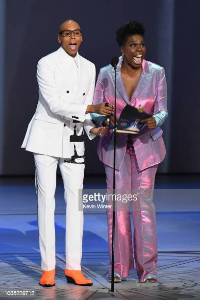 RuPaul and Leslie Jones speak onstage during the 70th Emmy Awards at Microsoft Theater on September 17 2018 in Los Angeles California
