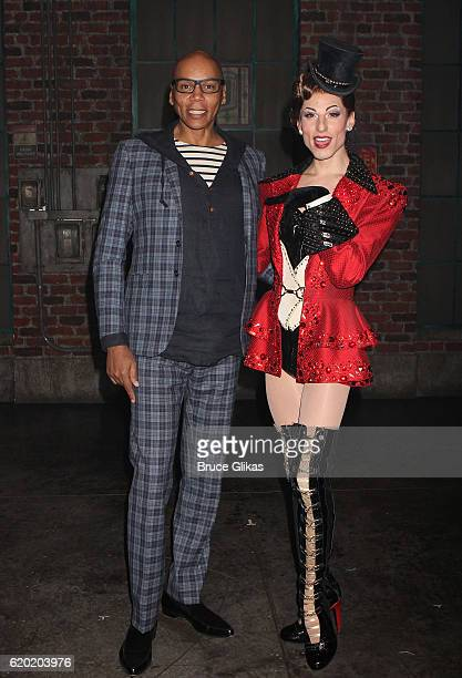 RuPaul and Sean Patrick Doyle pose backstage at the hit musical Kinky Boots on Broadway at The Al Hirshfeld Theatre on November 1 2016 in New York...