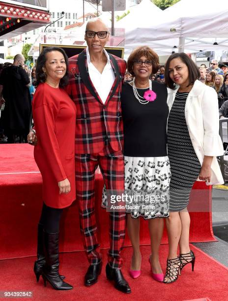 RuPaul and sisters Renetta Charles Renae Charles and Rozy Charles attend the ceremony honoring RuPaul with star on the Hollywood Walk of Fame on...