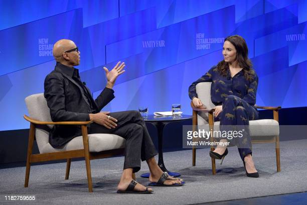 RuPaul and Whitney Cummings speak onstage during 'Long Live the Queen The Business of Being RuPaul' at Vanity Fair's 6th Annual New Establishment...
