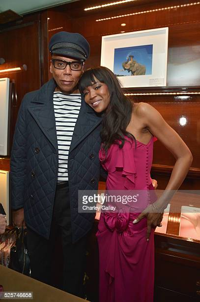 RuPaul Charles and model Naomi Campbell attend the Los Angeles launch of 'Naomi' at Taschen Beverly Hills on April 28 2016 in Beverly Hills California