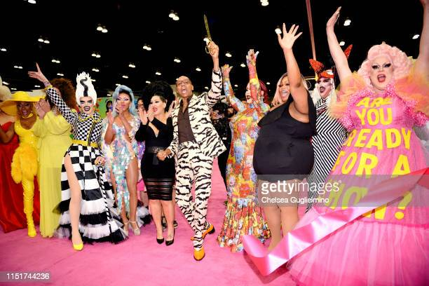 RuPaul cuts the ribbon as A'keria Chanel Davenport Art Simone Serena ChaCha Michelle Visage India Ferrah Silky Nutmeg Ganache Genie and Nina West...