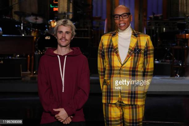 """RuPaul"""" Episode 1780 -- Pictured: Musical guest Justin Bieber and host RuPaul during Promos in Studio 8H on Friday, February 7, 2020 --"""