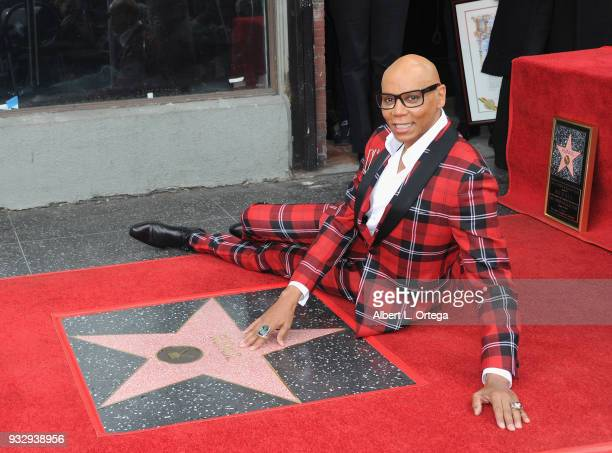 RuPaul is honored with a star on the Hollywood Walk Of Fame on March 16 2018 in Hollywood California