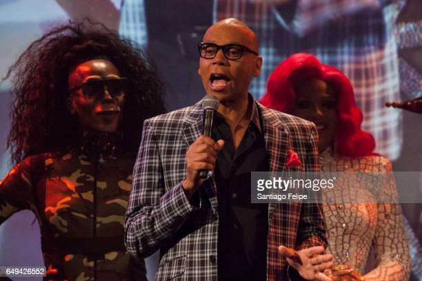 RuPaul makes a surprise appearance onstage during RuPaul's Drag Race Season 9 Premiere Party Meet The Queens Event at PlayStation Theater on March 7...