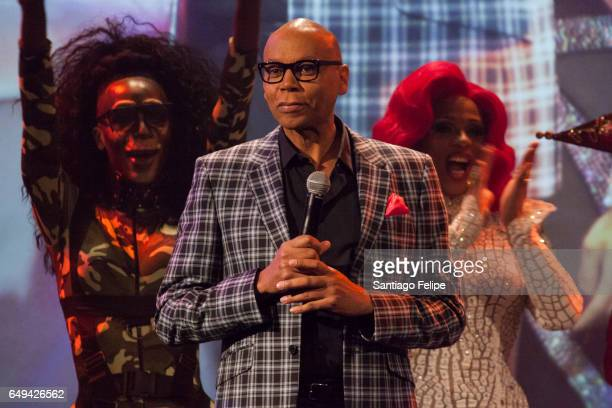 RuPaul makes a surprise appearance onstage during 'RuPaul's Drag Race' Season 9 Premiere Party Meet The Queens Event at PlayStation Theater on March...