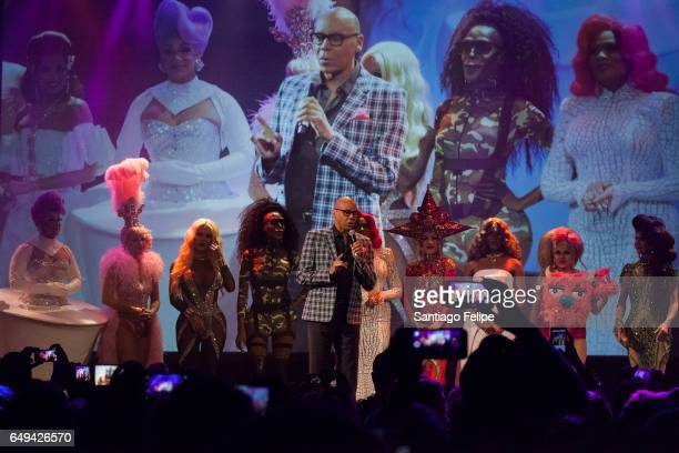 RuPaul makes a surprise appearance onstage with the cast of season 9 during RuPaul's Drag Race Season 9 Premiere Party Meet The Queens Event at...