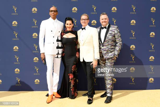 RuPaul Michelle Visage Carson Kressley and Ross Mathews attend the 70th Emmy Awards at Microsoft Theater on September 17 2018 in Los Angeles...