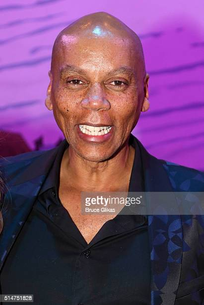RuPaul poses backstage at the hit musical Something Rotten on Broadway at The St James Theatre on March 10 2016 in New York City