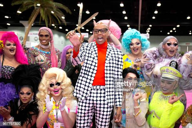 RuPaul poses during the ceremonial ribbon cutting at the 4th Annual RuPaul's DragCon at Los Angeles Convention Center on May 12 2018 in Los Angeles...