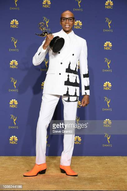 RuPaul poses in the press room during the 70th Emmy Awards at Microsoft Theater on September 17 2018 in Los Angeles California