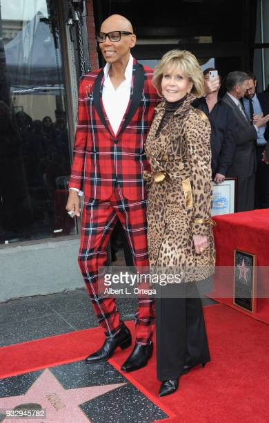 RuPaul poses with actress Jane Fonda at his Star ceremony held on The Hollywood Walk Of Fame on March 16 2018 in Hollywood California