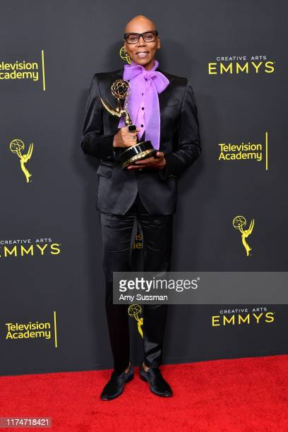 RuPaul poses with the Outstanding Host for a Reality or Competition Program Award for RuPaul's Drag Race during the 2019 Creative Arts Emmy Awards on...