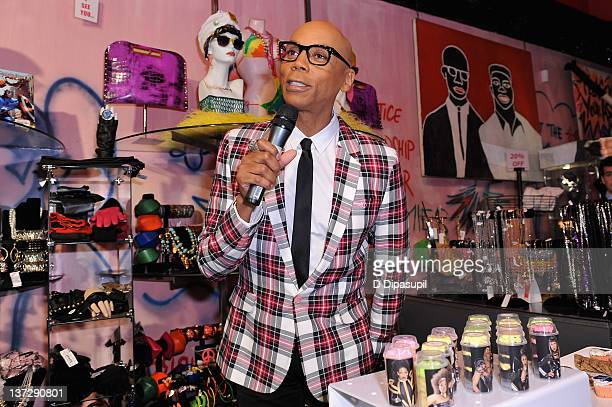 RuPaul speaks at Logo's RuPaul Drag Race Premiere Party at Patricia Field Boutique on January 18 2012 in New York City