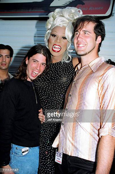 RuPaul with Dave Grohl and Krist Novoselic of Nirvana