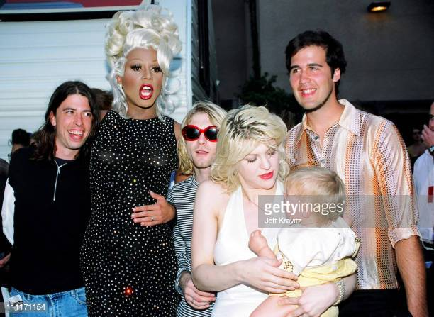 RuPaul with Dave Grohl, Kurt Cobain and Krist Novoselic of Nirvana, and Courtney Love with daughter Frances Bean Cobain