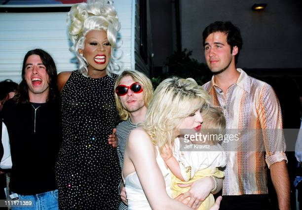 RuPaul with Dave Grohl Kurt Cobain and Krist Novoselic of Nirvana and Courtney Love with daughter Frances Bean Cobain