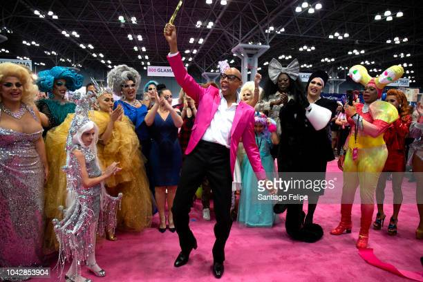 RuPaul with Michelle Visage during the ceremonial ribbon cutting at RuPaul's DragCon NYC 2018 at Javits Center on September 29 2018 in New York City