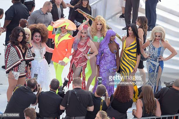 Rupaul's Drag Race All Stars and Frankie Grande attend the 2016 MTV Video Music Awards at Madison Square Garden on August 28 2016 in New York City