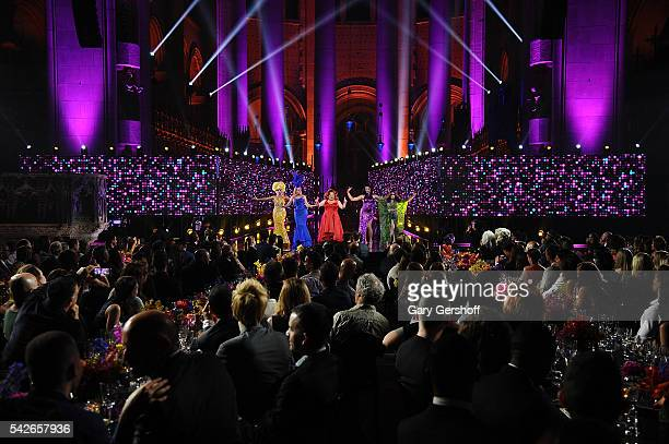 RuPaul's Drag Race AllStars Alyssa Edwards Alaska Thunderfvck Ginger Minj Tatiana and Phi Phi O'Hara perform at the 2016 Logo's Trailblazer Honors at...