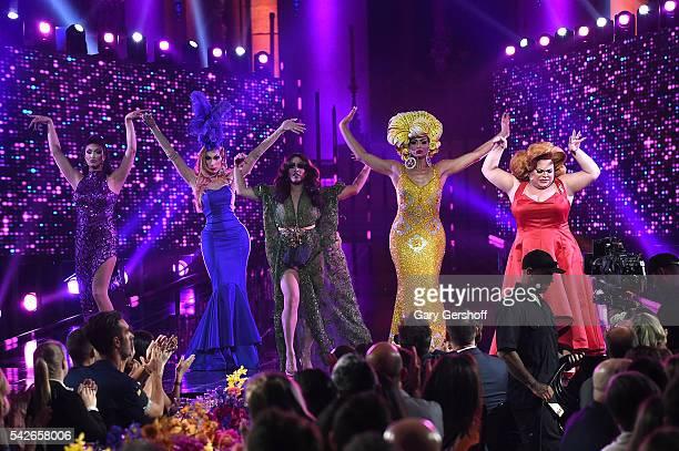 RuPaul's Drag Race AllStars Tatiana Alaska Thunderfvck Phi Phi O'Hara Alyssa Edwards and Ginger Minj perform at the 2016 Logo's Trailblazer Honors at...