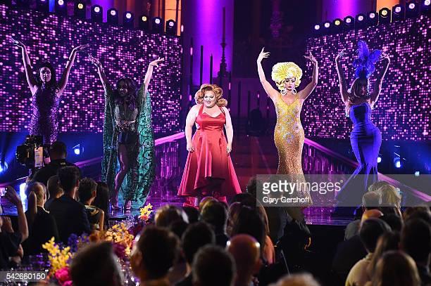 RuPaul's Drag Race AllStars Tatiana Phi Phi O'Hara Alyssa Edwards Ginger Minj and Alaska Thunderfvck perform at the 2016 Logo's Trailblazer Honors at...