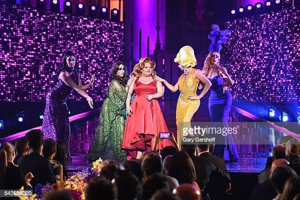 RuPaul's Drag Race AllStars Tatiana Phi Phi O'Hara Ginger Minj Alyssa Edwards and Alaska Thunderfvck perform at the 2016 Logo's Trailblazer Honors at...