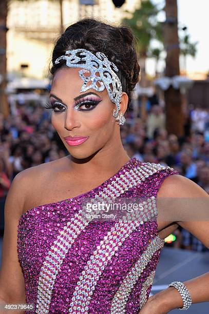 'RuPaul's Drag Race' former cast member and host Shangela attends a viewing party for the show's finale at the New Tropicana Las Vegason May 19 2014...