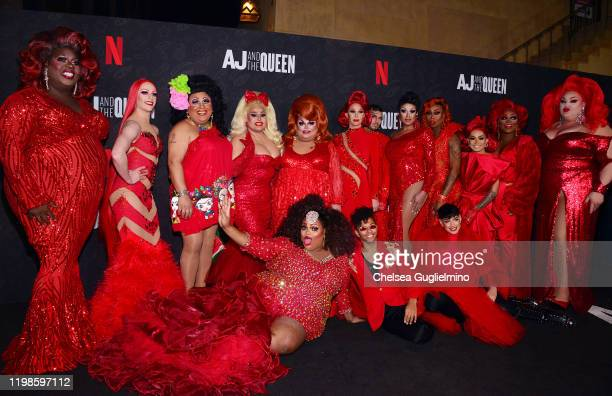 RuPaul's Drag Race queens attend the premiere of Netflix's AJ and the Queen Season 1 at the Egyptian Theatre on January 09 2020 in Hollywood...
