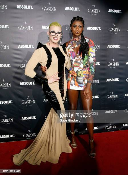 """RuPaul's Drag Race"""" season 13 contestant Joey Jay and """"RuPaul's Drag Race"""" season 13 winner Symone attend the one year anniversary party at The..."""