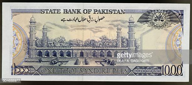 1000 rupees banknote reverse Jahangir Tomb in Shahdara Pakistan 20th century