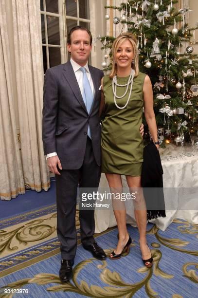 Rupert Adams and Nadja Swarovski attend an event to switch on Swarovski's five metre Crystal Snowflake designed by Ingo Maurer at Mandarin Oriental...