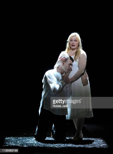Rupert Charlesworth as Tamino and Lucy Crowe as Pamina in English National Opera's production of Wolfgang Amadeus Mozart's The Magic Flute directed...