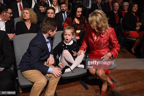 Rupert Clementine and Chloe Shorten wait for husband Leader of the Opposition Bill Shorten at the Labor campaign launch at the Joan Sutherland...