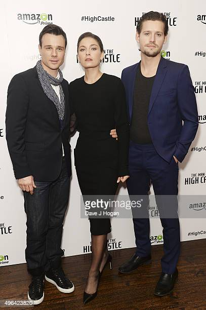 Rupert Evans Alexa Davalos and Luke Kleintank attend the European Premiere of the second episode of The Man In The High Castle at The Soho Hotel on...