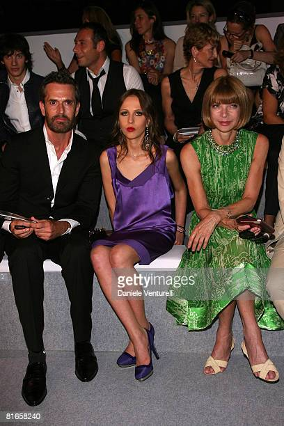Rupert Everett Allegra Versace and Anna Wintour attend Versace fashion show as part of Milan Fashion Week Spring/Summer 2009 on June 21 2008 in Milan...