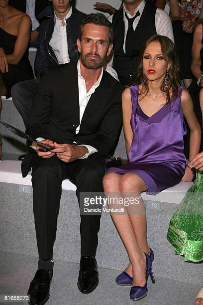 Rupert Everett and Allegra Versace attend Versace fashion show as part of Milan Fashion Week Spring/Summer 2009 on June 21 2008 in Milan Italy