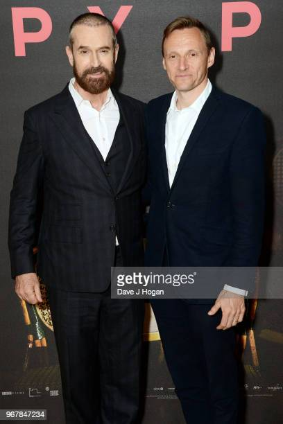 Rupert Everett and CEO of Lionsgate UK and Europe Zygi Kamasa attend the UK premiere of 'The Happy Prince' at Vue West End on June 5 2018 in London...