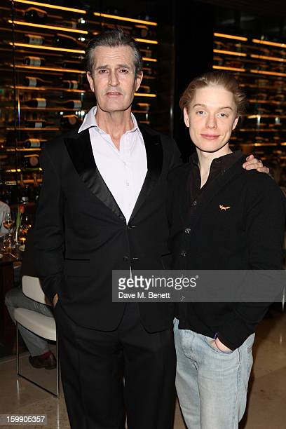 Rupert Everett and Freddie Fox attend an after party dinner for the press night of'The Judas Kiss' at Cucina Asellina on January 22 2013 in London...