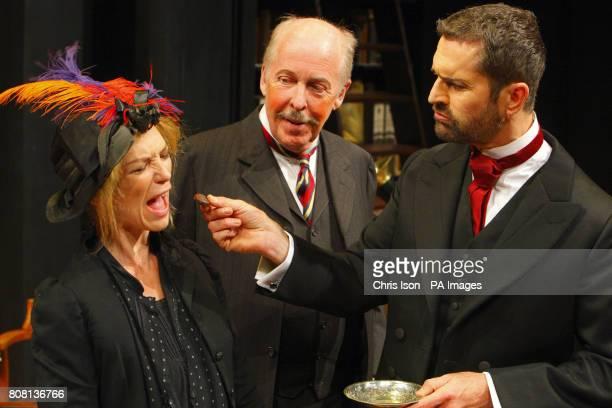Rupert Everett as Professor Henry Higgins Peter Eyre as Colonel Pickering and Honeysuckle Weeks as Liza Doolittle in George Bernard Shaw's Pygmalion...