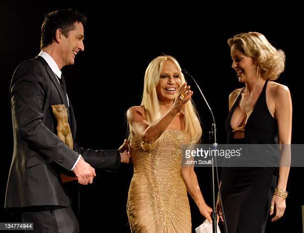 Rupert Everett Donatella Versace and Sharon Stone