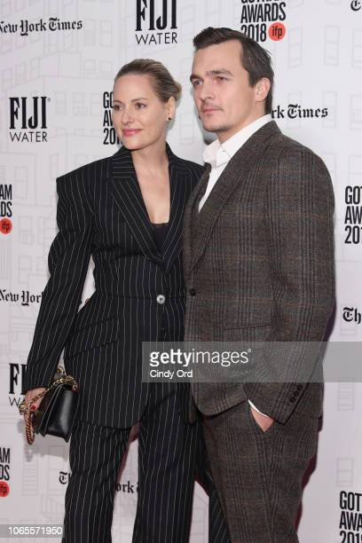 Rupert Friend and Aimee Mullins attend the 2018 IFP Gotham Awards with FIJI Water at Cipriani Wall Street on November 26 2018 in New York City