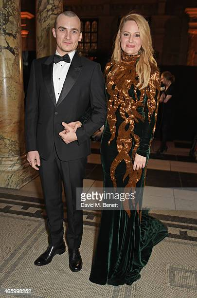 Rupert Friend and Aimee Mullins attend the Alexander McQueen Savage Beauty Fashion Gala at the VA presented by American Express and Kering on March...