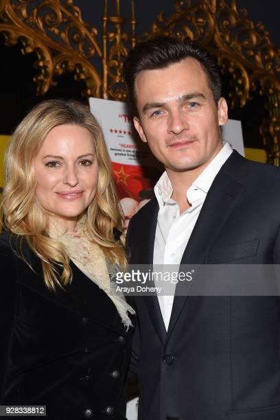 Rupert Friend and Aimee Mullins attend the premiere of IFC Films' 'The Death Of Stalin' at The Theatre at Ace Hotel on March 6 2018 in Los Angeles...