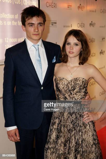 Rupert Friend and Felicity Jones attend the UK Premiere of 'Cheri' held at The Cine lumiere Institut Francais South Kensington on May 06 2009 in...