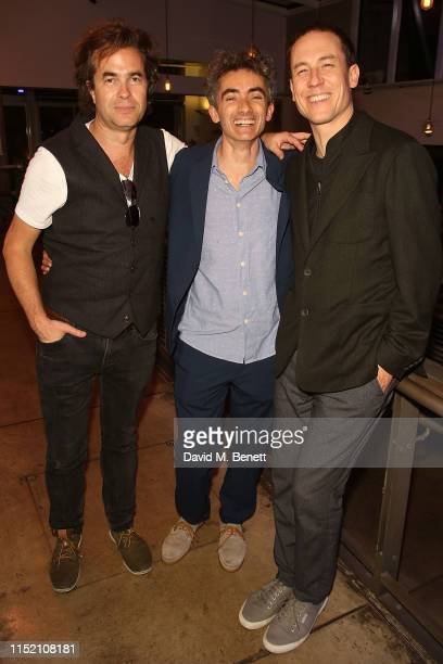 Rupert Goold David Farr and Tobias Menzies attend the press night after party for The Hunt at The Almeida Theatre on June 26 2019 in London England