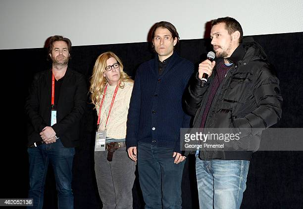 Rupert Goold producer Dede Gardner producer Jeremy Kleiner and actor James Franco attend the True Story premiere during the 2015 Sundance Film...